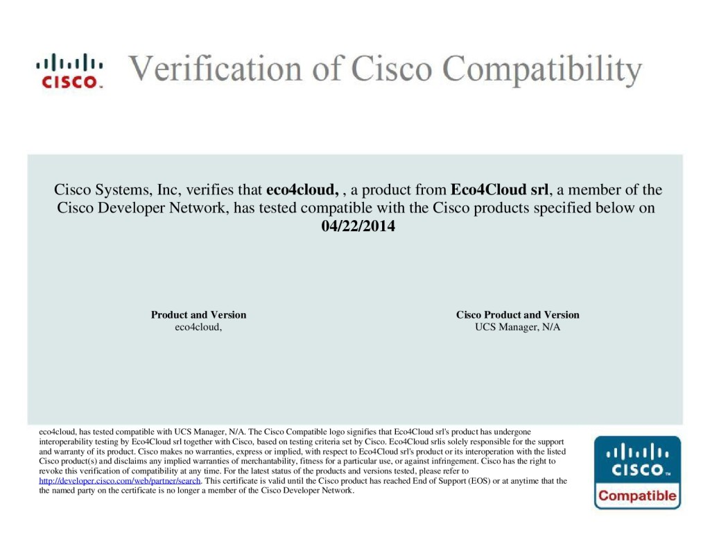 Eco4Cloud certified by Cisco for Interoperability Verification Test ...